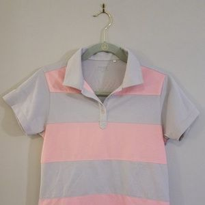 Baby pink and soft gray Ping women's golf shirt